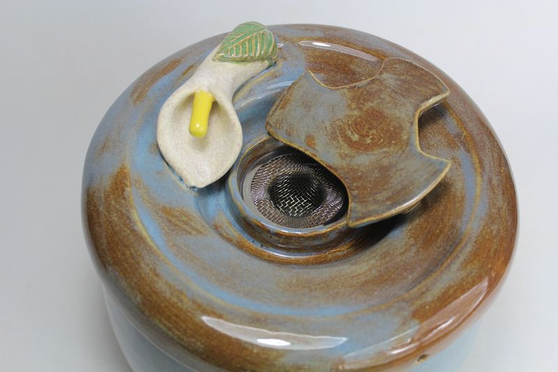 pet drinking fountain with a secured coon lid and lily spout