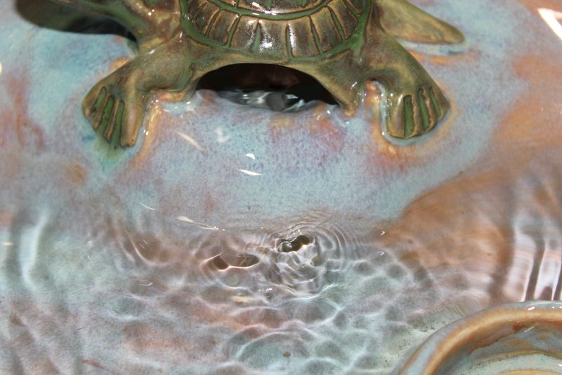 dog fountain with turtle bubbler